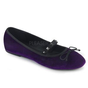 Purple Velvet DEMONIA DRAC-07 ballerinas flat womens shoes