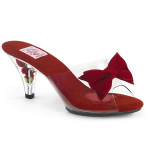 Red 7,5 cm BELLE-301BOW Pinup Mules Shoes with Bow Tie
