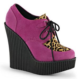 Rosa Ecopelle CREEPER-304 scarpe creepers zeppe altissime