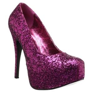 Rosa Glitter 14,5 cm Burlesque TEEZE-06GW scarpe décolleté per piedi larghi da uomo