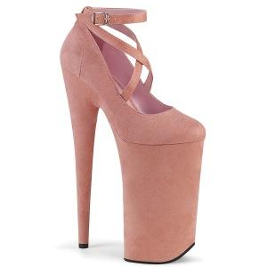 Rosa vegano suede 25,5 cm BEYOND-087FS tacchi estremi - scarpe décolleté più plateau alto