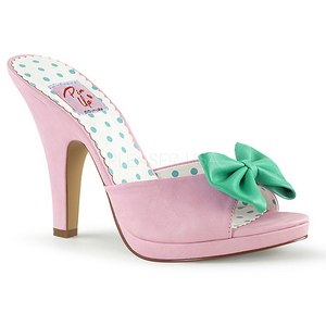 Rose 10 cm SIREN-03 Pinup Mules Shoes with Bow Tie