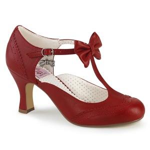 Rosso 7,5 cm retro vintage FLAPPER-11 Pinup scarpe décolleté con tacchi bassi