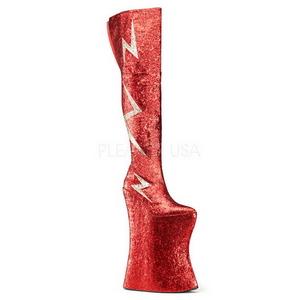Rosso Brillare 34 cm VIVACIOUS-3016 Overknee Stivali da Drag Queen