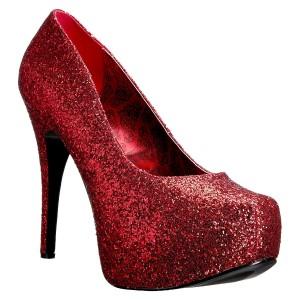 Rosso Glitter 14,5 cm Burlesque TEEZE-06GW scarpe décolleté per piedi larghi da uomo