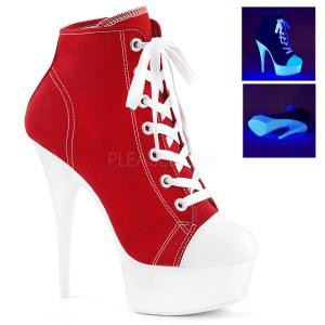 Rosso Neon 15 cm DELIGHT-600SK-02 Scarpe da ginnastica con tacco in tela