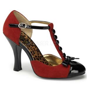 Rosso Scamosciata 10 cm SMITTEN-10 Rockabilly scarpe décolleté con tacchi bassi
