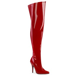 Rosso Verniciata 13 cm stivali sopra il ginocchio elasticizzati con gambale largo da uomo