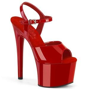 Rosso sandali pleaser con plateau e tacco 18 cm PASSION-709