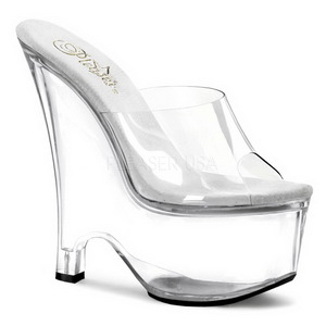 Transparent 16,5 cm Pleaser BEAU-601 Platform Wedge Mules