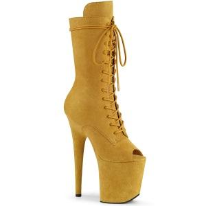 Vegano 20 cm FLAMINGO-1051FS stivali spuntate con tacco e piattaforma giallo