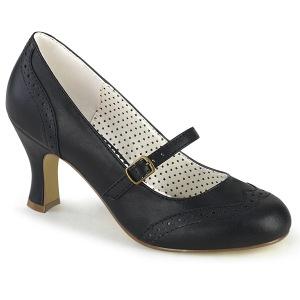 Vegano 7,5 cm FLAPPER-32 retro vintage scarpe décolleté maryjane nero