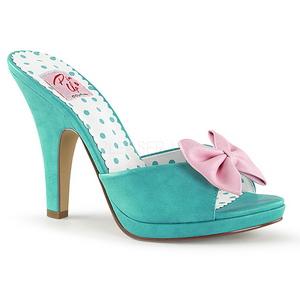 Verde 10 cm SIREN-03 Pinup scarpe ciabattine con farfallino