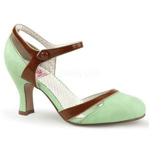 Verde 7,5 cm retro vintage FLAPPER-27 Pinup scarpe décolleté con tacchi bassi