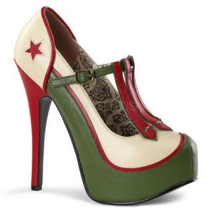Verde Beige 14,5 cm Burlesque TEEZE-43 Scarpe da donna con tacco altissime