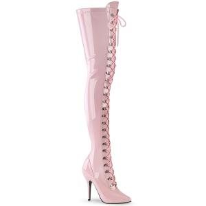 Verniciata rosa 13 cm SEDUCE-3024 stivali alti sopra il ginocchio da uomo