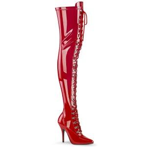 Verniciata rosso 13 cm SEDUCE-3024 stivali alti sopra il ginocchio da uomo