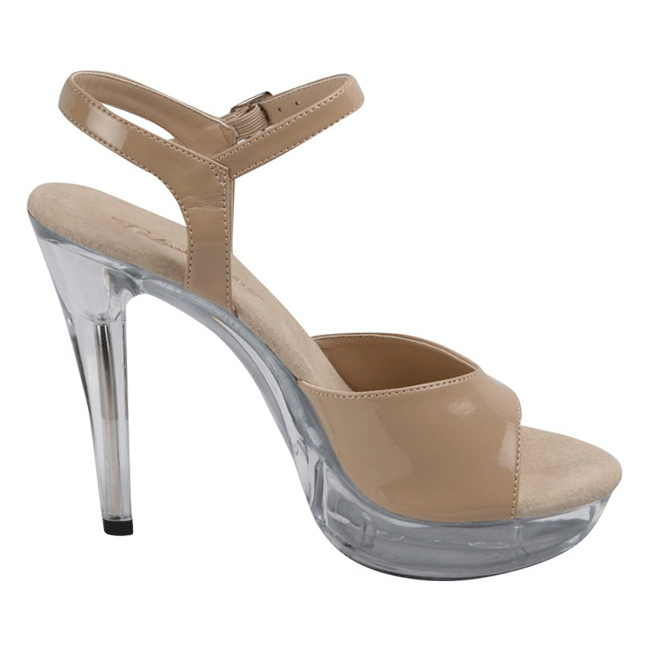 ff04c45bbef Beige Shiny 13 cm COCKTAIL-509 Acrylic Platform High Heeled Sandal ...