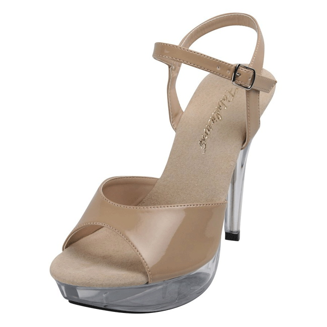 Beige Shiny 13 cm COCKTAIL 509 Acrylic Platform Heeled High Heeled Platform Sandale ... be5000