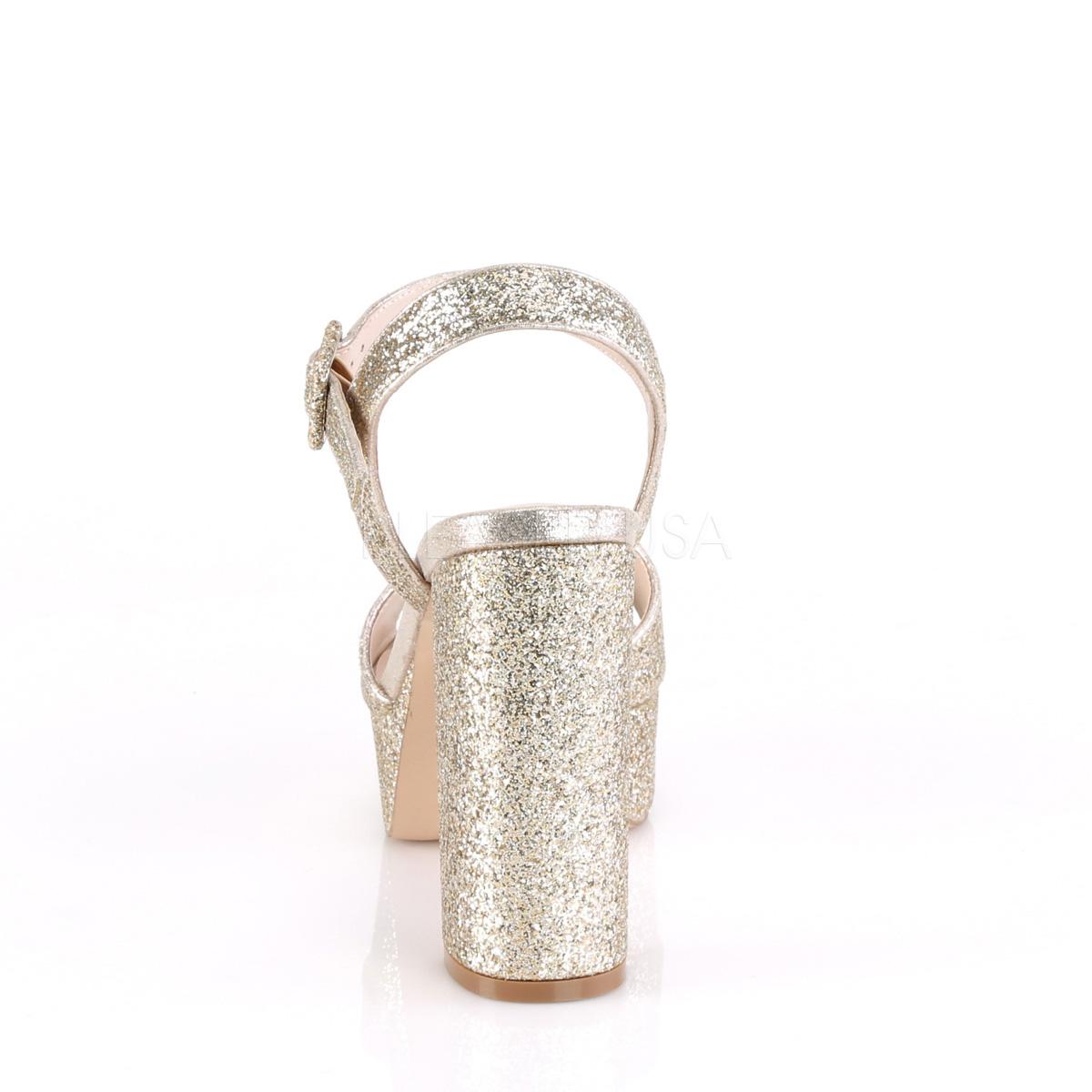 Sandali Con Glitter Dorato Tacco Celeste Plateau Cm 11 5 09 Largo E fbgYy67