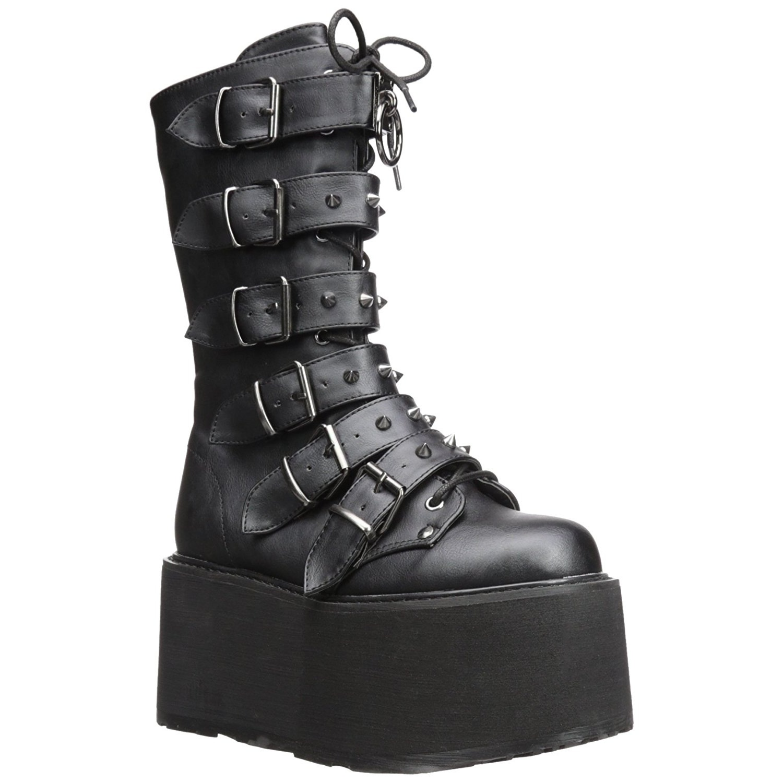 buy online 7271e e952a Ecopelle 9 cm DAMNED-225 stivali donna con fibbie e plateau alto