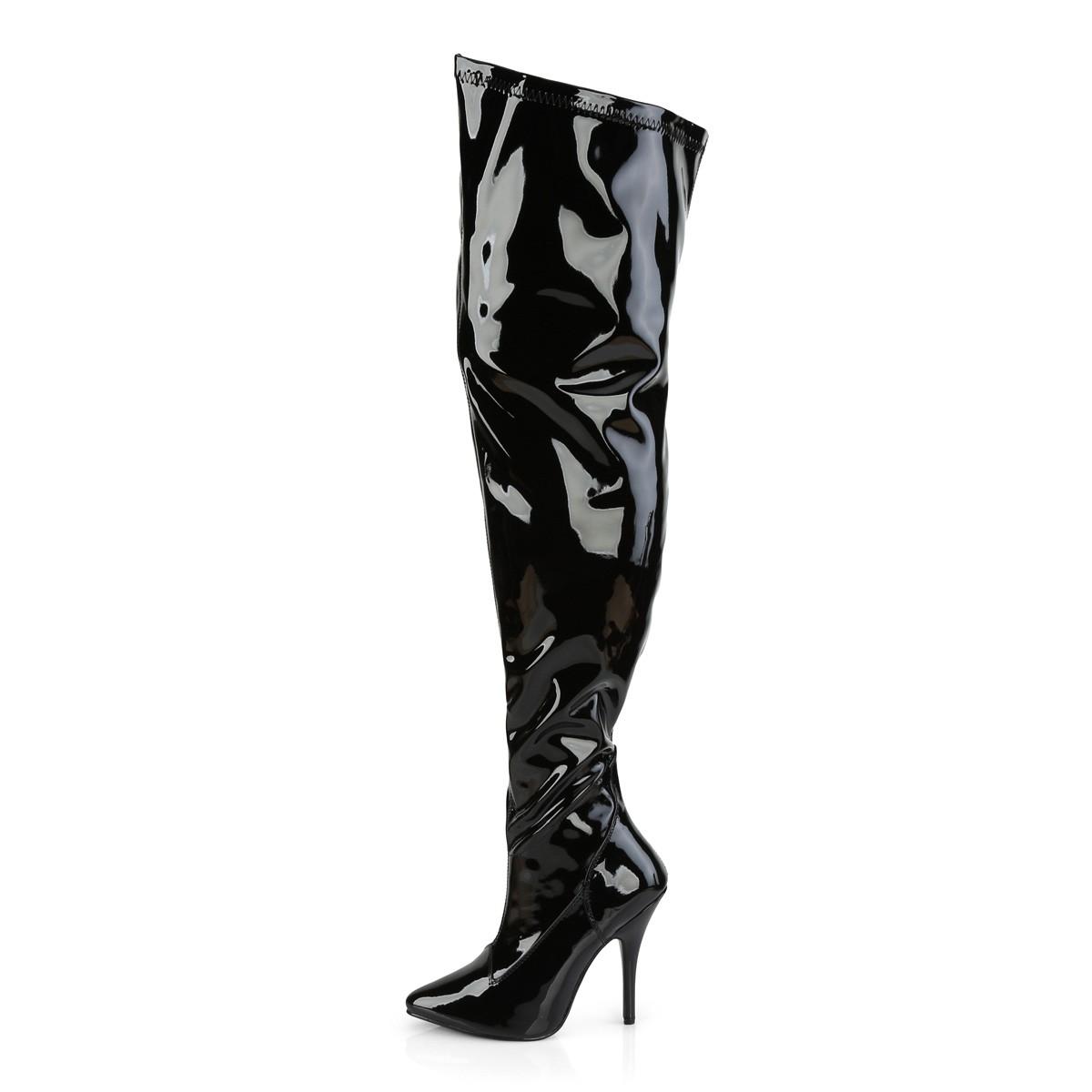 Nero Verniciata 13 cm SEDUCE 3000WC stivali sopra il ginocchio elasticizzati con gambale largo