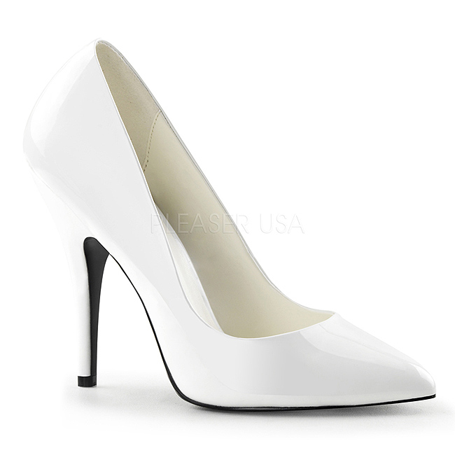 White Varnished 13 cm SEDUCE 420 pointed toe pumps high heels