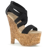 Black band 16,5 cm BEAU-669 wedges sandals cork platform