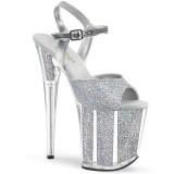 Silver glitter 20 cm Pleaser FLAMINGO-810G Pole dancing high heels shoes