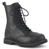 Vegan leather RIOT-10 demonia ankle boots - steel toe combat boots