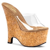 Transparent 16,5 cm Pleaser BEAU-601 Cork Platform Wedge Mules