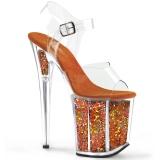 Arancia 20 cm FLAMINGO-808GF sandali da cubista e spogliarellista scintillare
