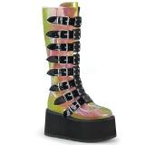 Arcobaleno 9 cm DAMNED-318 stivali donna con fibbie e plateau alto