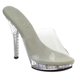 Argento 13 cm Fabulicious LIP-101LS Strass Plateau Mules Alte