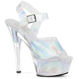 Argento 15 cm KISS-208N-CRHM Ologramma plateau sandali donna con tacco