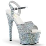 Argento 18 cm ADORE-710LG scintillare plateau sandali donna con tacco