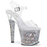 Argento 18 cm RADIANT-708HHG Ologramma plateau sandali donna con tacco