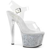 Argento 18 cm SKY-308G-T scintillare plateau sandali donna con tacco