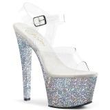 Argento 18 cm SKY-308LG scintillare plateau sandali donna con tacco