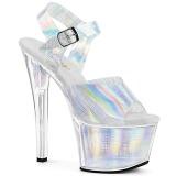 Argento 18 cm SKY-308N-CRHM Ologramma plateau sandali donna con tacco