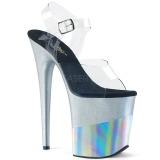 Argento 20 cm FLAMINGO-808-2HGM scintillare plateau sandali donna con tacco