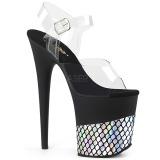 Argento 20 cm FLAMINGO-808HFN Ologramma plateau sandali donna con tacco