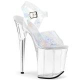 Argento 20 cm FLAMINGO-808N-CK Ologramma plateau sandali donna con tacco