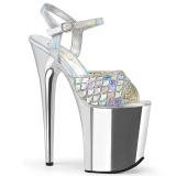 Argento 20 cm FLAMINGO-809MMRS scintillare plateau sandali donna con tacco