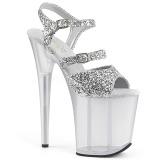 Argento 20 cm FLAMINGO-874 scintillare plateau sandali donna con tacco