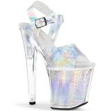Argento 20 cm XTREME-808N-CRHM Ologramma plateau sandali donna con tacco