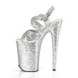 Argento 23 cm INFINITY-997LG scintillare plateau sandali donna con tacco
