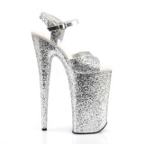 Argento 25,5 cm BEYOND-010LG scintillare plateau sandali donna con tacco