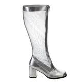 Argento 8,5 cm GOGO-307 stivali da rete donna con tacco altissime