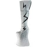 Argento Brillare 34 cm VIVACIOUS-3016 Overknee Stivali da Drag Queen